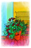 Illustration of a Flower Pot in Front of a Shelby Bench. This photo has been manipulated to make it look like a water color. Very vibrant colors Royalty Free Stock Photos