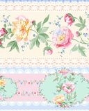 Flower Illustration pattern in simple background. Illustration flower in simple background. Banner, nature.Vintage Baroque Victorian frame border monogram floral Stock Photography