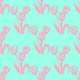 Illustration of the flower, the tulip. Seamless pattern. Stock Photos