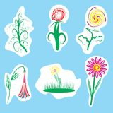 Illustration of flowers. Vector flowers. Image of flowers and plants for decoration Stock Illustration