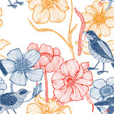Illustration of flowers, bird Royalty Free Stock Images