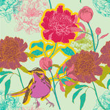 Illustration of flowers and a bird Royalty Free Stock Photography