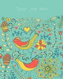 Illustration with flowers, birds, hearts and butterflies.Romanti Royalty Free Stock Photography