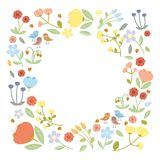 Summer flowers background. Illustration with flowers collection isolated on white background Stock Image