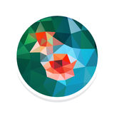 Illustration of Flowers of Rose in modern style. Abstract icon with Illustration of flowers of rose in polygonal style Royalty Free Stock Photo