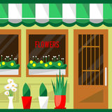 Illustration of a flowers vector shop. Royalty Free Stock Image