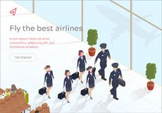 Illustration Fly Best Airlines Aircraft Crew. Aircraft Crew and Flight Attendants are Landing with Suitcases. Airport Waiting Lounge. Mechanic and Pilot vector illustration