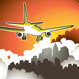Illustration of flying airplane Stock Image