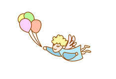 Illustration of flying angel with balloons. Illustration of flying cartoon angel with balloons Royalty Free Stock Images