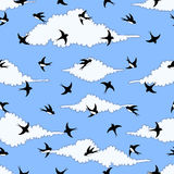 Illustration of flying birds in the sky. Pattern Royalty Free Stock Photos