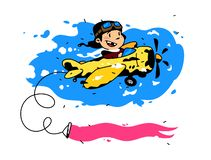 Illustration of a flying boy pilot on a plane. Vector. Postcard, congratulations, flyer layout. Cartoon style. The young pilot. Opens new horizons. Picture for stock illustration