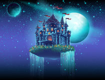 Illustration of a flying castle in space against a background of stars and planets Royalty Free Stock Image