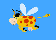 Illustration flying cows. On   blue background Royalty Free Stock Photography