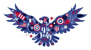 Illustration of flying eagle with abstract floral and patriotic elements. 4 July Independence Day vector template. Useful for posters, prints, advertising and Royalty Free Stock Images