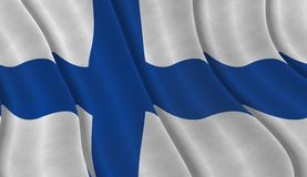 Illustration of a Finnish Flag. Illustration of a flying Finnish Flag Royalty Free Stock Photos