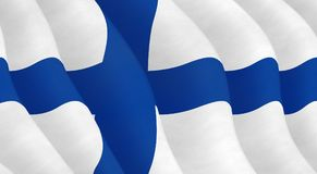 Illustration of a Finnish Flag. Illustration of a flying Finnish Flag Stock Images