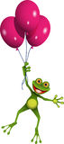 Frog in balloons Stock Image