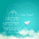 Illustration of flying paper plane around travel Stock Image