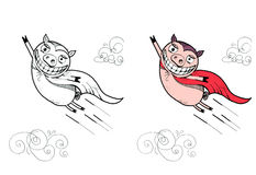 Illustration of Flying Pig. Funny superhero. On the left side black and white drawing, on the right side digitally colored illustration. Isolated on white Royalty Free Stock Photo