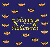 Halloween card of Flying Pumpkin stock images