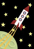 Illustration of a flying rocket Stock Photo