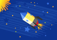 Illustration of a flying rocket in the starry sky Royalty Free Stock Photo