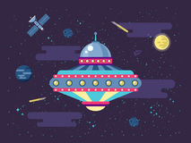 Illustration of a flying saucer UFO in outer space flat style Royalty Free Stock Image
