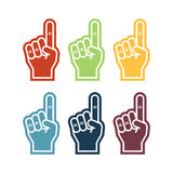 Illustration of a foam finger in six colors. Fan hand glover Royalty Free Stock Image