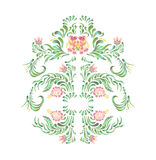 Illustration in folk style. Beautiful border with flowers in vintage style. Stock Photos