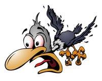 Illustration folle de vecteur d'oiseau de bande dessinée photos stock