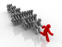 Illustration of follow the leader in competition Stock Photography