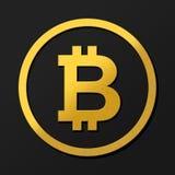 Illustration foncée de logo de pièce de monnaie du bitcoin 3D en or avec des ombres Rendu avec le concept d'or de symbole d'ombra Images libres de droits