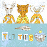 Illustration with food and animals Royalty Free Stock Photography