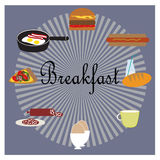 Illustration with food for breakfast Stock Images