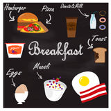 Illustration with food for breakfast Royalty Free Stock Photo