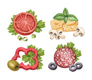 Illustration of food ingredients. Watercolor illustration of food ingredients Stock Images