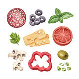 Illustration of food ingredients. Watercolor illustration of food ingredients Royalty Free Stock Images