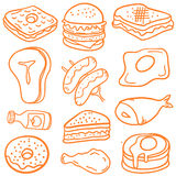 Illustration food various of doodles Royalty Free Stock Photography