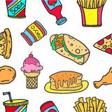 Illustration of food various doodles Royalty Free Stock Images