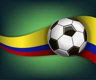Illustration with football or soccet ball and flag of Colombia. Illustration with foootbal or soccet ball and flag of Colombia. Vector for international world Royalty Free Stock Photos