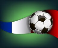 Illustration with football or soccet ball and flag of France. Illustration with foootbal or soccet ball and flag of France. Vector for international world Royalty Free Stock Images