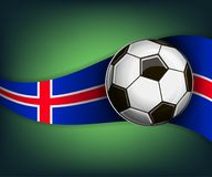 Illustration with football or soccet ball and flag of Iceland. Illustration with foootbal or soccet ball and flag of Iceland. Vector for international world Stock Photos