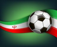Illustration with football or soccet ball and flag of Iran. Illustration with foootbal or soccet ball and flag of Iran. Vector for international world Royalty Free Stock Images