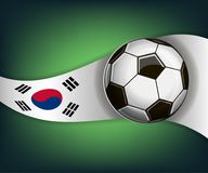 Illustration with football or soccet ball and flag of Korea. Illustration with foootbal or soccet ball and flag of Korea. Vector for international world Stock Image