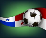 Illustration with football or soccet ball and flag of Panama. Illustration with foootbal or soccet ball and flag of Panama. Vector for international world Royalty Free Stock Images