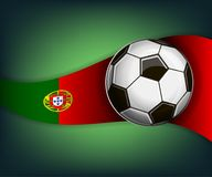 Illustration with football or soccet ball and flag of Portugal. Illustration with foootbal or soccet ball and flag of Portugal. Vector for international world Stock Image