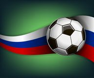 Illustration with football or soccet ball and flag of Russia. Illustration with foootbal or soccet ball and flag of Russia. Vector for international world Stock Photo