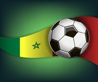Illustration with football or soccet ball and flag of Senegal. Illustration with foootbal or soccet ball and flag of Senegal. Vector for international world Stock Photo