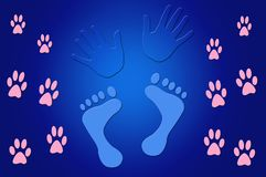 Illustration of Foot Prints and Hand Prints. Blue Illustration of Foot Prints and Hand Prints Stock Image