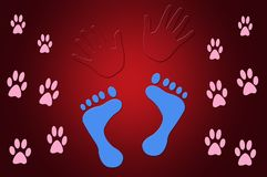 Illustration of Foot Prints and Hand Prints Red Background. Red Illustration of Foot Prints and Hand Prints Red Background Royalty Free Stock Images